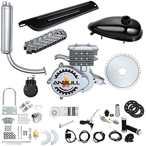 "Anbull 80CC Bicycle Engine Kit, Bike Bicycle Motorized 2 Stroke Petrol Gas Motor Engine Kit for 26"" 28"" Bike (Silver Color)"