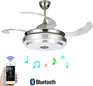 FINE MAKER 42'' Ceiling Fan with Light LED Integration Three-Color Light with Bluetooth Smart Phone Player and Remote Control Adjustment Speed ABS Invisible Blade