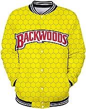 SAFTYBAY Men's Backwoods Crewneck Sweatshirt Long Sleeve Pullover Baseball Jacket Button Down Sweater Coat Casual Streetwear (C,L)