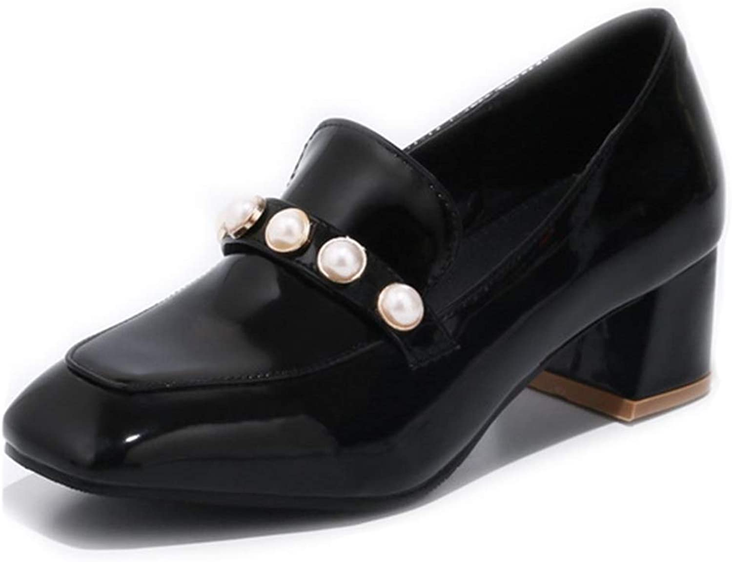 GIY Women's Classic Oxfords Loafers shoes Square Toe Slip-On Studded Retro Mid Block Heel Dress Pumps