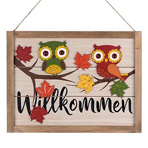 Valery Madelyn Holz Herbst Dekoration Wandschilder mit Sprüchen Willkommen Türschild Herstdeko mit 3D Eulen Figuren 40 x 30cm Erntedankfest Thanksgiving Holzschild zum Hängen für Wand Tür