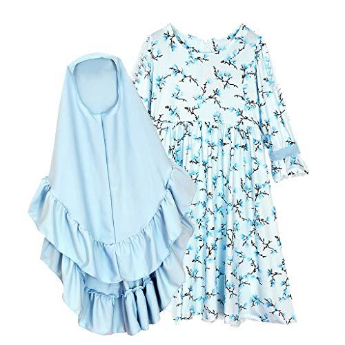 TTLOVE Muslim Mädchen Kleider Elegant Langarm Dubai Princess Kleider Maxikleid + Blumen Kopftuch für Kinder Festlich Casual Sommerkleid (Hellblau,110)