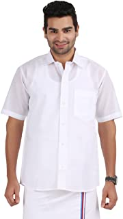 PRAKASAM COTTON Men's Formal Mono Cotton Half Sleeve White Shirt