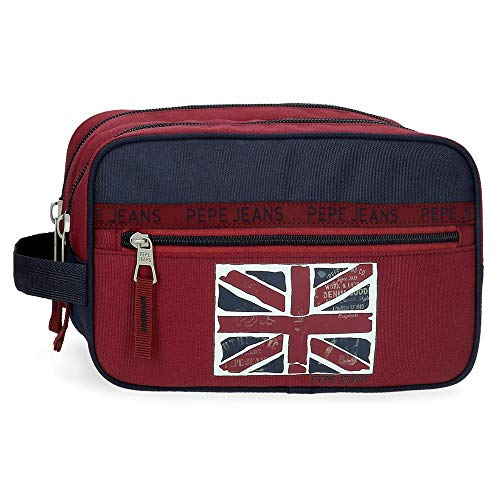 Neceser Pepe Jeans Andy Doble Compartimento Adaptable, Rojo, 26x16x12 cm