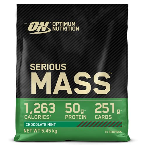 Optimum Nutrition Serious Mass Protein Powder High Calorie Mass Gainer with Vitamins, Creatine and Glutamine, Chocolate Mint, 16 Servings, 5.45 kg, Packaging May Vary