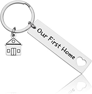 New Home Gifts Keychain Housewarming Gift Personalized Engraved Our First Home for Homeowner Couples Men Husband Women Wife Friends Moving Home Gift Keyring Jewelry