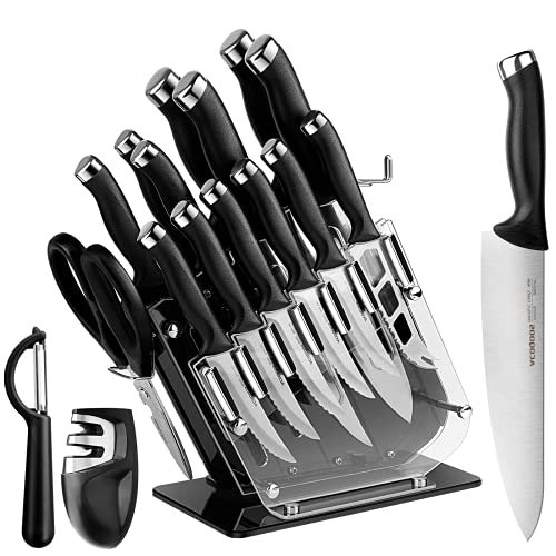 Knife Set for Kitchen, ACOQOOS Kitchen Knife Set 18 PCS, Knife Set with block with Acrylic Stand,...