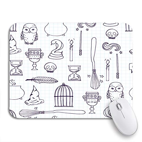 Adowyee Gaming Mouse Pad Potter Different Witch Equipment Harry Wand Pattern Broom Witchcraft 9.5'x7.9' Nonslip Rubber Backing Mousepad for Notebooks Computers Mouse Mats