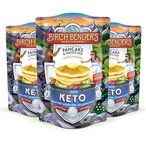 Keto Pancake & Waffle Mix by Birch Benders, Low-Carb, High Protein, Grain-free, Gluten-free, Low Glycemic, Keto-Friendly, Made with Almond, Coconut & Cassava Flour, Just Add Water, 3 Pack (10oz each)