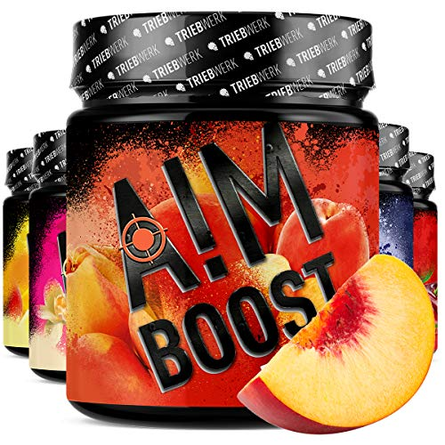 AIM BOOST® | Performance Booster | 400g | 40 Portionen | 23 Wirkstoffe | 247mg Koffein + Tyrosin +Theanin | 8 Vitamine | wenig Zucker | (Ice Tea Peach)