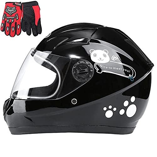 Children's Motorcycle Helmet, Children's Helmet, Boys And Girls, Full Face Motorcycle Helmet Bicycle Scooter Full Face Helmet, Suitable for 4-10 Years Old,Black