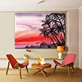 RTCKF 1 Unidades Sunset Seashore and a Palms Landscape Wall Pictures for Living Room HD Canvas Painting Home Decor Posters 70x105CM (Sin Marco)