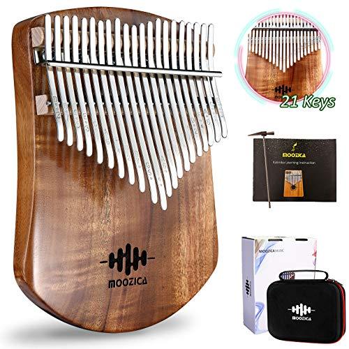 MOOZICA 21 Tasten Massives Koa-Holz Kalimba, Einzel-Massivholzplatte Professionelle Kalimba Thumb Piano Marimba mit Lernanweisung und Hochleistungs-Tragetasche (Koa, 21-Tasten)