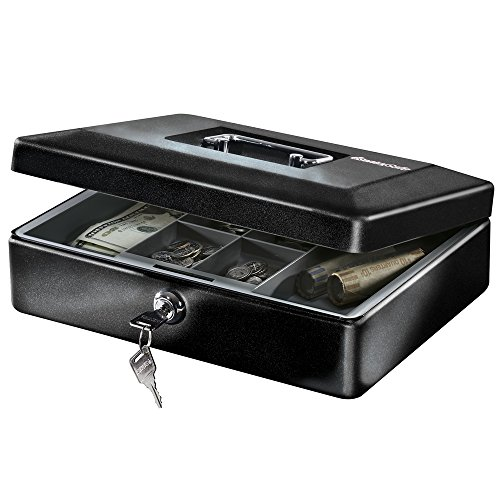 SentrySafe CB-12 Cash Box with Money Tray and Key Lock 0.21 cu Feet, Black