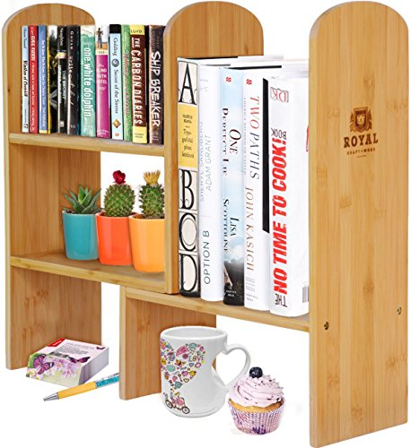 Expandable Natural Bamboo Desk Organizer Accessory - Adjustable Desktop Shelf Rack - Multipurpose Display for Office (Books) | Kitchen Storage (Spice Rack) | Flowers and Plants.
