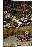 Pintar por Numeros para Adultos Niños Pintura por Números con Pinceles y Pinturas- kit de regalo, arte de pared, decoración del hogar — la pelea de gallos 1889, 1014558