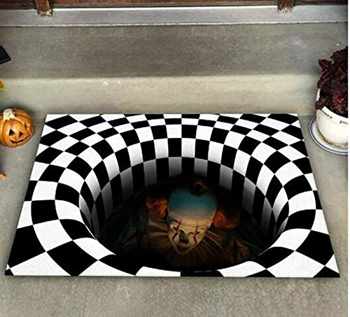 Baikk Halloween 3D Illusion Doormat, Vortex Illusion Rug Front Floor Mat Square Carpet 3D Visual Illusion Rug for Living Bedroom,3D Visual Vortex Optical Illusions Anti-Slip Floor Mat (60x90cm)