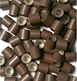 Eurolocks con silicona, tamaño M = 4,0 mm, 5 colores, extensiones (ELS M = 4,0 mm, marrón)