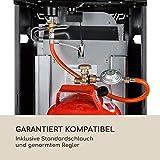 blumfeldt Bonaparte Fire - Gasheizgerät, 4200W, elektrische Zündung mit AAA-Batterie, für Gasflaschen bis 15 kg, Full Size Tank Cover, kindersicher, 4 Bodenrollen, Tragemulden, schwarz - 4