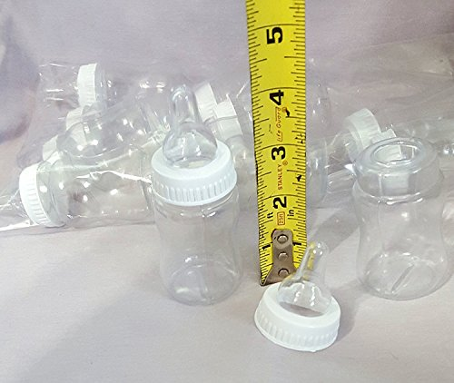 """Baby Bottle, 4.25"""" Tall, Pack of 24, Party Favor. White ring."""