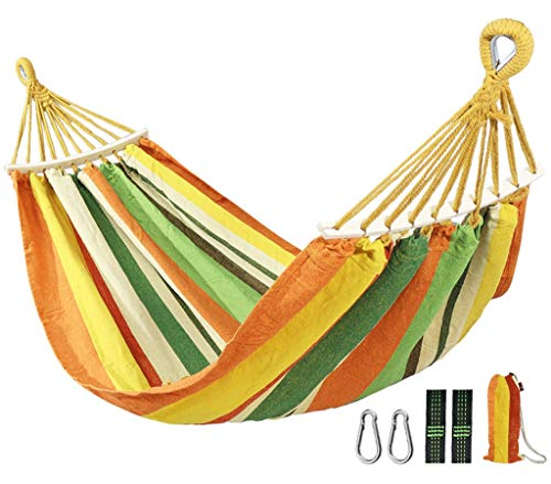 YAN- Outdoor cotton hammock, 200 x 80 cm, maximum load of 400 kg, garden hammock with wooden extension pole and carrying case, perfect for patios, camping, beaches and terraces, rainbow stripes Strawb