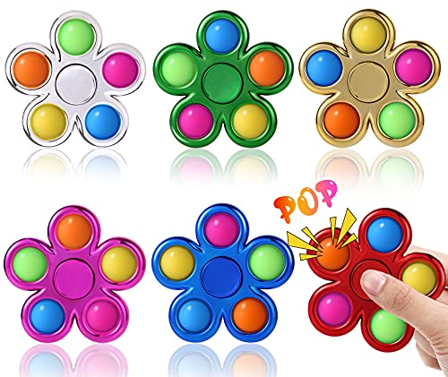 Pop Fidget Spinner 6 Pack- Simple Fidget Popper Pack- Pop Bubble Fidget Toy for ADHD Anxiety Stress Relief- Bulk Sensory Toy Party Favor Goodie Bag Stuffers Return Gifts Birthday for Kids