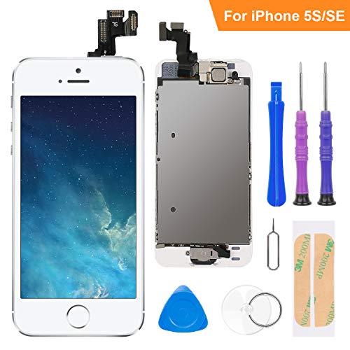 FLYLINKTECH Écran LCD Tactile de Remplacement pour iPhone 5S/Se Blanc 4.0 Pouces,modèle Complet préassemblés (caméra Frontale/Bouton Home/capteur de proximité/écouteur) Kit d'outils de réparation