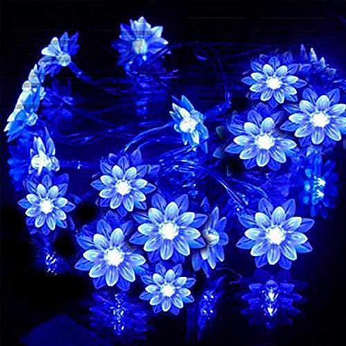 WALLFIRE 50 LED 7M Peach Ledertek Flower Solar Lamp Power LED String Fairy Lights Solar Ghirlande Garden Decorazioni di Natale per Esterni (Color : Blu)