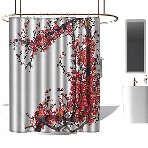 TimBeve - Tenda da doccia rustica giapponese, motivo floreale con linee ornamentali orientali, colore: grigio antracite, blu scuro, bianco, design impermeabile 70'x70'(W180cmxL180cm) Color15