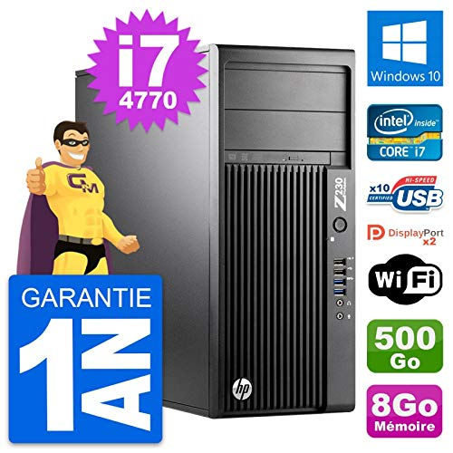 HP PC Tower-Workstation Z230 Intel i7-4770 RAM 8 GB Festplatte 500 GB Windows 10 WLAN (überholt)