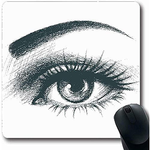 Mousepads Mascara Zwart Handgetekende Oog Abstract Closeup Getrokken Elegantie Oogbal Zie Oblong Vorm 18X22Cm Antislip Gaming Mouse Pad