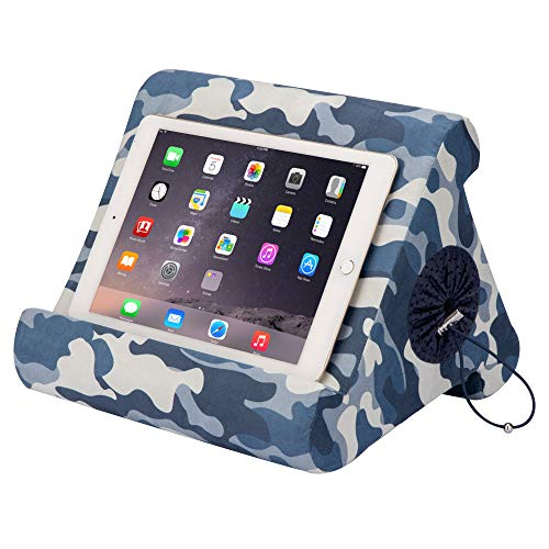 Flippy with New Storage Cubby Multi-Angle Soft Pillow Lap Stand for iPads, Tablets, eReaders, Smartphones, (Blue Camou)