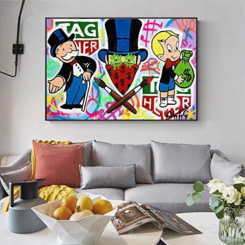 Alec Monopoly Rich Money Pinturas artísticas de graffiti en la pared, carteles e impresiones artísticas, cuadros de lienzo de arte callejero moderno, decoración del hogar, 60 x 80 cm (sin marco)