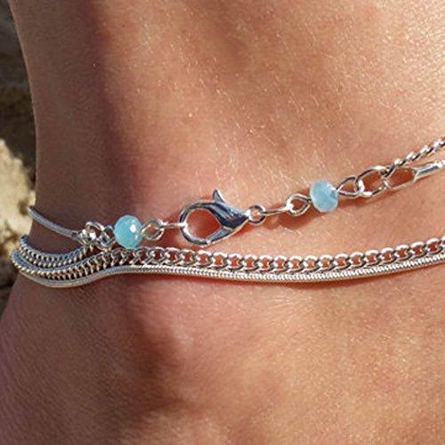 Jovono - Tobilleras simples, multicapa, cadena de pies, adorno de tobillo, pulseras para mujeres y niñas
