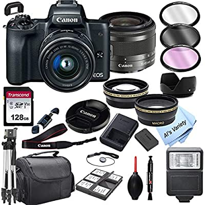 Canon EOS M50 Mirrorless Digital Camera with 15-45mm Zoom Lens + 128GB Card, Tripod, Case, and More (24pc Bundle) from Al's Variety-Canon Intl