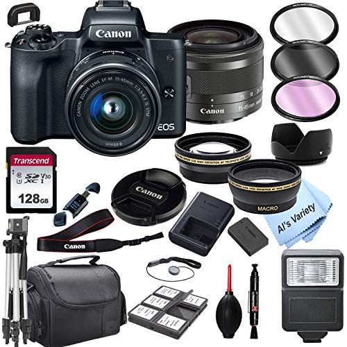 Canon EOS M50 Mirrorless Digital Camera with 15-45mm Zoom Lens + 128GB Card, Tripod, Case, and More (24pc Bundle)