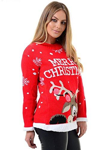 Mymixtrendz. Donne Signore Xmas Reindeer Buon Natale novità 3D Bubbles Maglione Maglione 8-22 (ML (UK 12-14), Red)