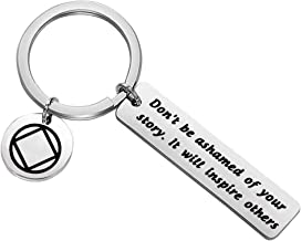MAOFAED Sobriety Gift Recovery AA Alcoholics Anonymous Birthday Gift Don't Be Ashamed of Your Story Sober Keychain New Beginnings Gift
