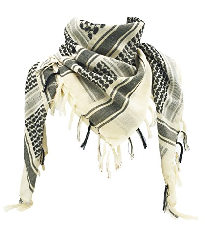 WOLMIK 100% Cotton Military Shemagh Tactical Desert Keffiyeh Head Neck Scarf Wrap in Beige