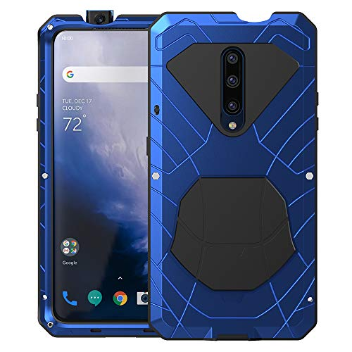 Feitenn Oneplus 7 Pro Case, Oneplus 7 Pro Case Heavy Duty, Armor Hybrid Aluminum Alloy Metal Cover Heavy Duty Soft Rubber Shockproof Protective Military Bumper Outdoor for Oneplus 7 Pro 2019 - Blue