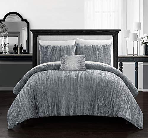 Chic Home BCS12500-AN Westmont 4 Piece Comforter Set Crinkle Crushed Velvet Bedding - Decorative Pillow Shams Included, King, Grey
