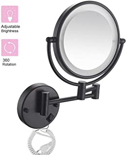 Makeup Mirror Wall Mounted Makeup Mirror 5X Magnification Double Sided Swivel Plug Operated Mirror Made of Brass Stainless Steel, Shaving in Bedroom or Bathroom