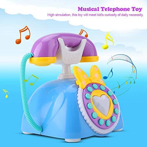 Germerse Juguete Musical, teléfono Musical Azul, teléfono Educativo para bebés, teléfono, Juguete, para el hogar Escolar, niñas, bebés(Blue)