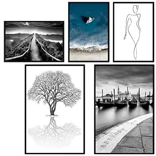 decomonkey   Poster 5er – Set schwarz-weiß Abstrakt Kunstdruck Wandbild Print Bilder Kunstposter Wandposter Posterset Landschaft Baum Natur Venedig Figur Stadt