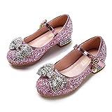 Eleasica Zapatos de Princesa para niñas Cosplay Princesa Elsa Zapatilla de Cristal Calzado Brillo Lentejuelas Zapato de tacón Carnaval Fiesta Disfraz de Halloween Accesorio Purpurina Bailarina