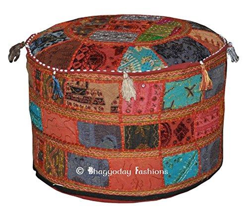 Traditional India Funda para Taburete de salón, diseño Vintage otomano, Cubierta para puf, Patchwork, otomano, Decorativa, Hecha a Mano, Funda para Silla de 58,42 x 33,02 cm.