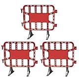 Kit 3 vallas plástico obra de 1 metro rojas. Valla contención peatonal roja