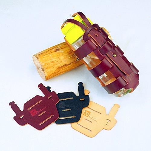 L+T construct Bottle Cage for Brompton - Rome Porta biberones y sillas de Serie Mount Pad - Hecho a Mano en Italia de Cuero Genuino con AnilineWine RedColor Jaula y Wine Red Color Pad