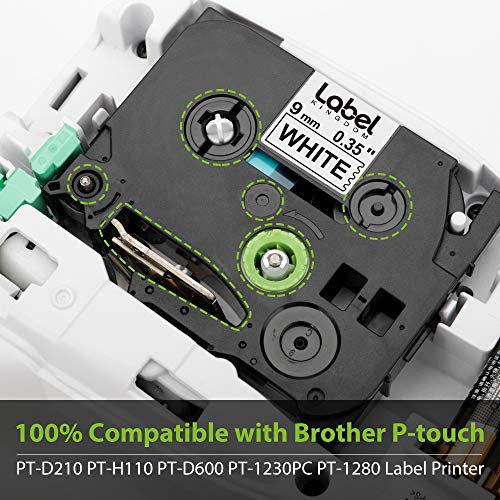 """Label KINGDOM Compatible Label Tape Replacement for Brother Ptouch 9mm 3/8"""" TZe-221 Black on White Label Maker Tape, 0.35 Inch x 26.2 Feet Laminated TZe TZ Tape for PT-D200 PT-D210 PT-H110, 5-Pack Photo #6"""