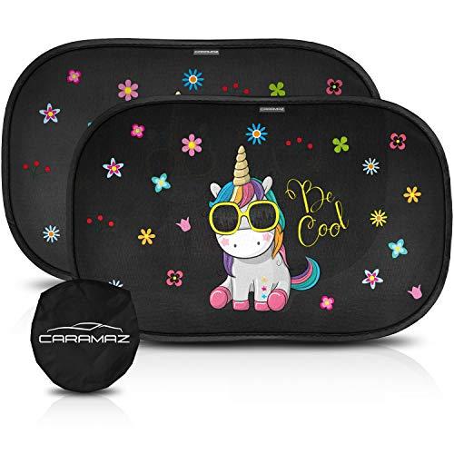 Parasol coche infantil con protección UV extra oscura - autoadhesivo, para proteger del sol a bebés y mascotas, 2 parasoles para bebé con diseño de unicornio